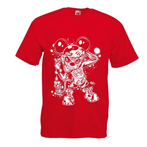 lepni.me Männer T-Shirt Eine Maus mit Einem tollen Halloween-Party-Kostüm (X-Large Rot Mehrfarben)