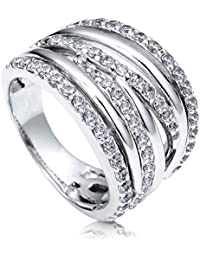 BERRICLE Rhodium Plated Sterling Silver Cubic Zirconia CZ Woven Right Hand Cocktail Statement Ring