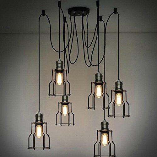hwamart-r-hl426-sei-lampada-frontale-lampadario-ragno-nero-con-gabbia-di-ferro-epoca-retro-ciondolo-