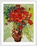 1art1 Vincent Van Gogh Poster Kunstdruck und Kunststoff-Rahmen - Vase Mit Margeriten Und Mohnblumen (50 x 40cm)