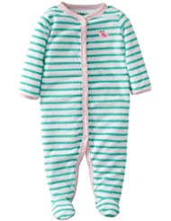 Carter's Baby Girls' Terry Footie - Turquoise - 3 Months Color: Turquoise Size: 3 Months (Baby/Babe/Infant - Little ones)