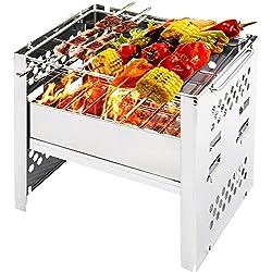 Pequeño barbacoa carbón portátil pilable de mesa–Paraviento para Fresh Grills, muiltifonction, ideal para BBQ Picnic Camping freír (cuire en plein air & # xFF0C; Acero inoxidable 20* 15* 2.6cm