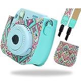 SAIKA Instax Mini 9 PU Leder Instax Mini 8 / 8+ / 9 Kamera Tasche für Fujifilm Instax Mini 9 8 8+ Kamera mit Schultergurt und Tasche (Mint II)