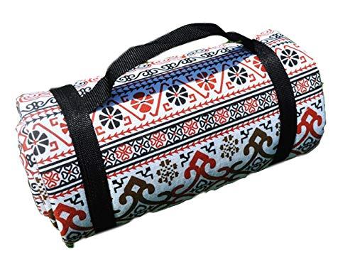 X-Labor Bohemian Picknick Decke 200x150 cm XXL Baumwolle Leinen mit wasserdichter PEVA Unterseite Wärmeisoliert Stranddecke Campingdecke Motiv-H