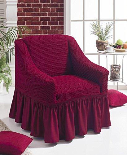 Stretch Sesselschoner, Sesselbezug, Sesselhusse aus Baumwolle & Polyester in weinrot / rot / bordeaux / bordo. Sofaueberwurf / Sofabezug / Sofahusse / Elastisch Husse