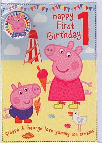 Peppa Pig Geburtstagskarte 1. Geburtstag mit Button (Peppa Pig-happy Birthday)