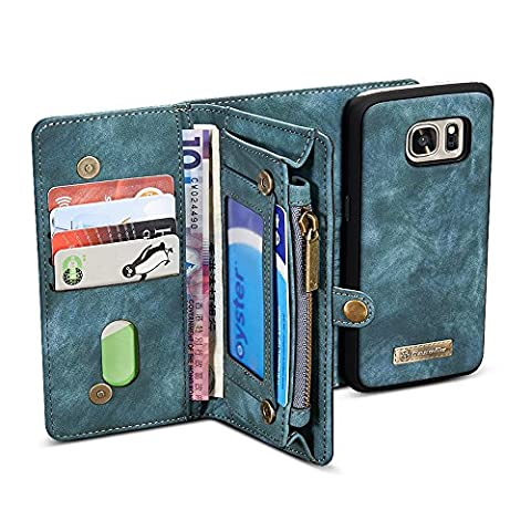 Galaxy S7 Edge Case, BELK Detachable (2 in 1) Zipper Wallet Case with Multiple 10 (Manicotto Di Chiusura Copertina)