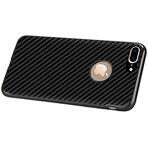 Custodia per Apple iPhone 7 Plus/iPhone 8 Plus ,GrandEver Fibra di Carbonio Ibrida Silicone TPU Flessibile Morbida AntiGraffio Antiurto Shock-Absorption Bumper Protettiva Cover Case - Nero Nero