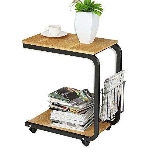 Soges Beistell-Tisch 51 x 30 x 56 cm Laptoptisch Notebookständer mit Rollen zum Bremsen für Notebook KH02
