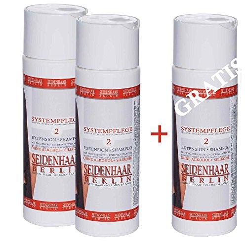 AKTIONS- SPARSET: 1x gratis= 3 x Seidenhaar-Extension Shampoo* ohne Silikone* ohne Öle * ohne Parabene + Alkohol* 3 x 200 ml