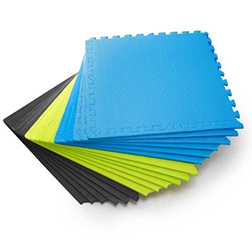 #DoYourFitness Schutzmatten Set 6 Puzzlematten 6 Steckelementen á 60 x 60 x 1,2 cm (ca. 2,2m²) - Unterlegmatten/sicherer Bodenschutz für Sportgeräte, Gymnastikräume, Keller blau