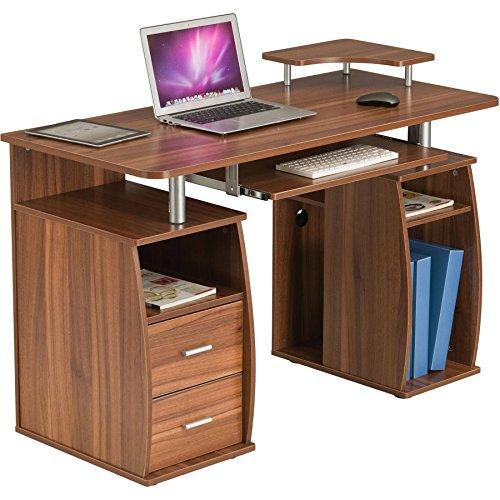 Piranha Großer Computer Schreibtisch mit 2 Schubladen und 4 Regalfächern in Dunkle Eiche Bureau PC 5n -