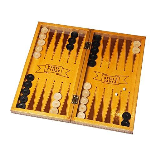 Tavla Spiel 2in1 - Klassisch aus Buchenholz - Türkisches Backgammon 42,5x42,5cm