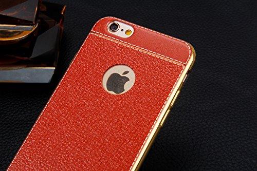 Custodia iPhone 7 Plus,Cover iPhone 7 Plus,Custodia Cover per iPhone 7 Plus, ikasus® Placcatura in Leather Plating pelle sintetica iPhone 7 Plus Custodia Cover [Crystal TPU] [Shock-Absorption] Protett Caffè