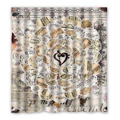 Dalliy Brauch Musiknoten notes Wasserdicht Polyester Shower Curtain Duschvorhang 167cm x 183cm