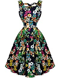 887ec208f853 Hearts & Roses London Navy Retro Floral Vintage 1950s Flared Party Swing  Dress Excellent Quality