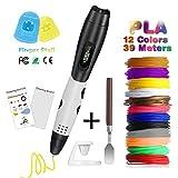 Fede 3D-Stift mit LCD-Anziege, für 3D-Druck, mit 12zusätzlichen PLA-Drähten, 1,75mm, in verschiedenen Farben, jeweils 3Meter, insgesamt 36Meter, perfektes Geschenk für Kinder und Erwachsene