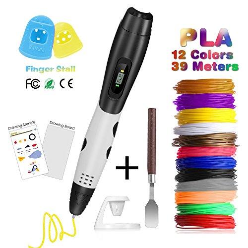 Penna 3D con Schermo LCD, Fede Penna da Stampa 3D con 12 Filamenti PLA Supplementari di 1,75mm e di Colori Diversi, Ogni di 3,3 Metri e Totale di 39,6 Metri, Penna Stampata 3D è un Regalo Perfetto per Bambini, Adulti