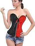 Beauty-You Damen Gothic Korsett Braut Corsage Mieder Geschnrt Plus Size Bustier, Red + Black, M/DE 34-36