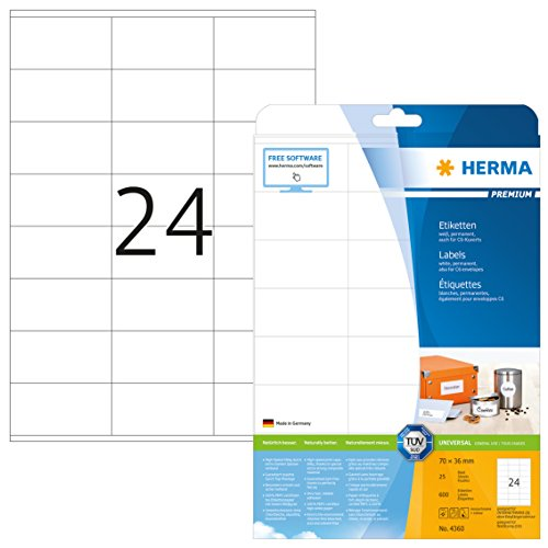 HERMA 4360 Universal Etiketten DIN A4 (70 x 36 mm, 25 Blatt, Papier, matt) selbstklebend, bedruckbar, permanent haftende Adressaufkleber, 600 Klebeetiketten, weiß - Computer-adresse Labels