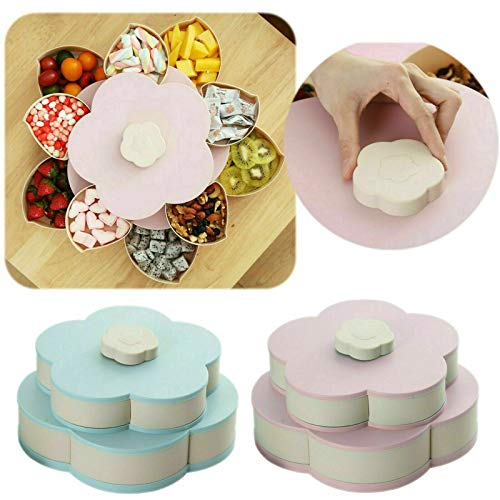 Enjoy Life - Bloom Snackbox, Aufbewahrungsbox in Blütenform Amazing Bloom Rotating Snack Tray Candy Box (Pink Double Layer) (Bloom Box)