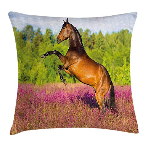 Horse Decor Throw Pillow Cushion Cover, Strong Bay Horse Rearing up in Blossoming Rural Summer Field Trees, Decorative Square Accent Pillow Case, 18 X 18 inches, Green Hot Pink Brown Lace-up-bay