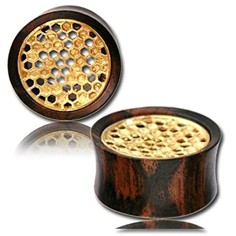 Chic-Net wooden tunnel tamarind wood honeycomb filled brass inlay antique gold Tribal Plug Organic Expander 20 mm