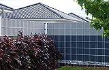 EXCOLO 50 m Rolle Sichtschutzstreifen für Gitterzaun Zaunfolie Zaunblende Sichtschutz 19 cm Hoch in Farbe Schiefer-Grau ähnlich RAL 7015 Kein FESTSPANNEN Wie Bei PVC ERFORDERLICH