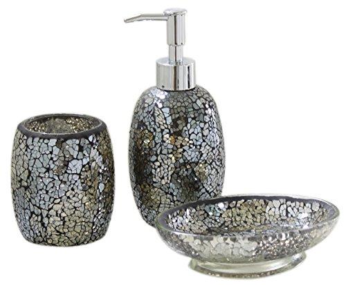 Stylish Black and Gold Sparkle Mosaic Bathroom Set
