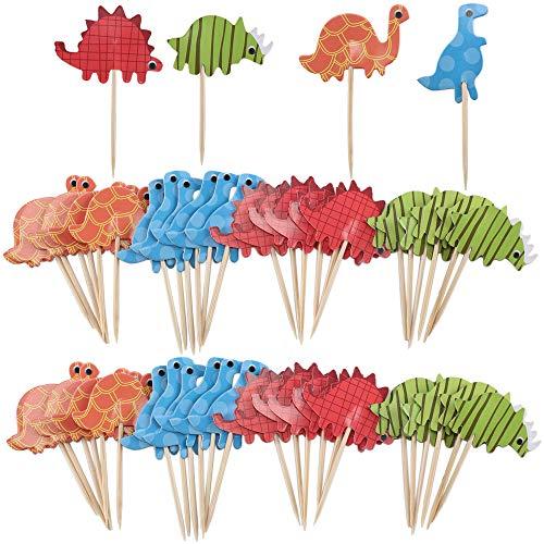 HO2NLE Cupcake Toppers Muffins Deko 72 Pcs Cupcake Picks Dinosaurier Kuchen Topper für Geburtstag Baby Kinder Party Hochzeit