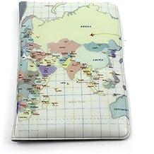 HuntGold - diseño de mapa, funda para pasaporte de PVC (beis)
