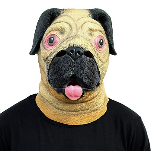 AKCHIUY Halloween Kostüm Party Tier Mops Hundekopf Maske Deluxe Neuheit Latex Maske Weihnachten Kostüm Unisex,Dog-OneSize
