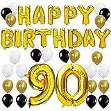 KUNGYO Happy Birthday Lettere Alfabeto Balloon+Numero 90 Mylar Foil Palloncini+24 Pezzi Oro Bianco Nero Lattice Balloons- Perfetto per Decorazioni di Festa di Compleanno di 90 Anni