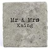 Mr & Mrs Kaing - Set of Four Marble Tile Drink Coasters
