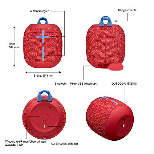 Ultimate Ears Wonderboom 2 Tragbarer Bluetooth-Lautsprecher, 360° Sound, Wasserdicht & Staubdicht, Outdoor-Modus, Verbinden Sie 2 Lautsprecher für Stereo-Sound, 13-Stunden Akkulaufzeit - rot