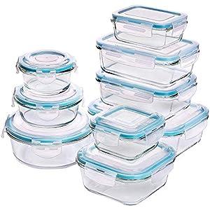 KICHLY Glas-Frischhaltedosen 18 Stück [9 Behälter + 9 Deckel] - Glasbehälter - Transparente Deckel - BPA frei - für Home Küche oder Restaurant