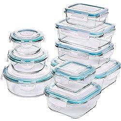 KICHLY Récipient en Verre - Boîtes Alimentaires - 18 pièces (9 récipients + 9 couvercles) - Couvercles Transparents - sans BPA - pour la Cuisine ou Le Restaurant