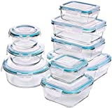 KICHLY - Glass Food Storage Container Set - 18 Pieces (9 Containers and 9 Lids) - Transparent Lids - BPA Free