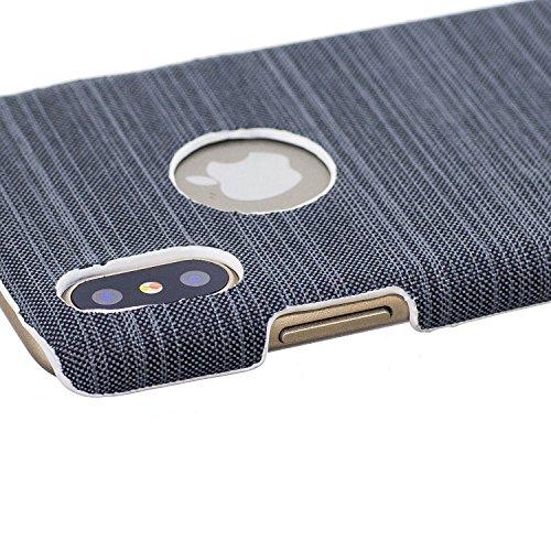 Apple iphone X hülle, Voguecase Hybrid Hülle Koffer Schutzhülle Handyhülle Schutz vor Stürzen und Stößen Schutzhülle für iphone X Case Cover (Leinen Stab Leder-Dunkelgrün) + Gratis Universal Eingabest Leinen Stab Leder-Dunkelgrün
