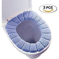 [3pcs] gamuza de calentador de baño suave más grueso elástico lavable tapa de inodoro almohadillas, 3piezas