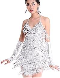 Seawhisper Robe Paillettes Multicolore de Salsa Femme Robe Latine pour Bal Rumba Samba Tango