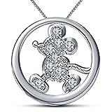 Vorra Fashion Mickey-Maus-Anhänger mit Kette, platiniertes 925er Sterling Silber, Disney-Charakter