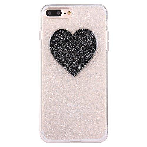 BING Für iPhone 7 Plus Glitter Powder Herz Muster TPU Soft Schutzmaßnahmen zurück Fall Fall BING ( Color : Silver ) Black