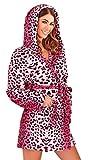 Luxus Damen Corel Soft Snuggle mit Kapuze kurz Bademantel Bademantel S mit Gürtel Damen Größe Klein–X Groß Gr. 40, Rosa - Pink Leopard Print