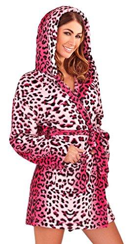 Luxus Damen Corel Soft Snuggle mit Kapuze kurz Bademantel Bademantel S mit Gürtel Damen Größe Klein–X Groß Gr. 40, Rosa - Pink Leopard Print (Rosa Leopard-print)