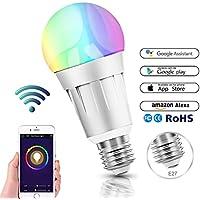 Smart Wifi bombilla, LED Smart Bulb RGB Colour Luz lámpara funciona con Amazon Alexa, Echo y Google casa, 60W equivalente, remoto controlado por iOS/Android Dispositivos, no requiere Hub (E27)