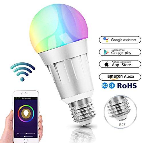 Smart Alexa Lampen, Wifi LED Alexa Glühbirne, RGB Dimmbar Hue Color Ambiance E27 Smart Birne Kompatibel Mit Amazon Alexa, Echo Und Google Home, Steuerbar Via App, 60W äquivalent, 16 Millionen Farben (E27) (Temperatur ändern Led-lampen)