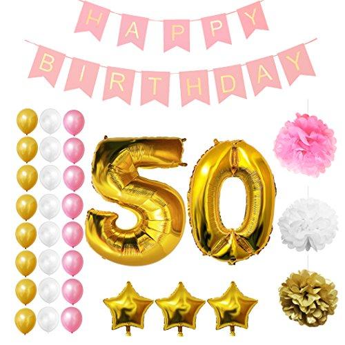 Globos Cumpleaños Happy Birthday #50, Suministros y Decoración por Belle Vous   Globo Grande de Aluminio 50 Años   Decoración Globos De Látex Dorado, Blanco y Rosa   Apto para Todos los Adultos