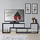 DEVAISE Multifunctional Hölzernen TV-Lowboard / Bücherregal / TV Schrank; 15mm Dicke, Schwarz