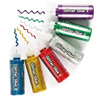 Baker Ross Jumbo Glitter Glue (Pack of 6) For Kids To Decorate, Arts and Crafts